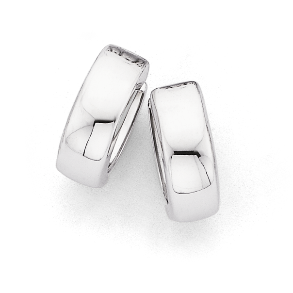 9ct 10mm White Gold Polished Huggie Earrings