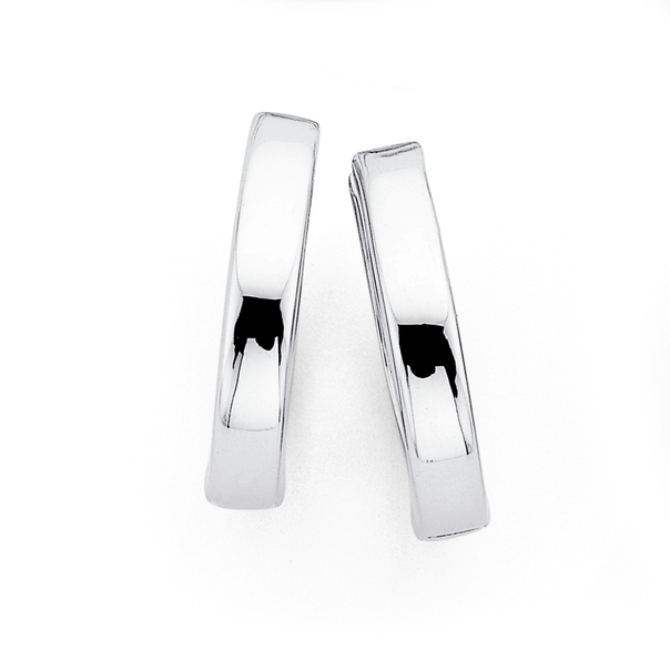 9ct 18mm White Gold Hollow Hoops