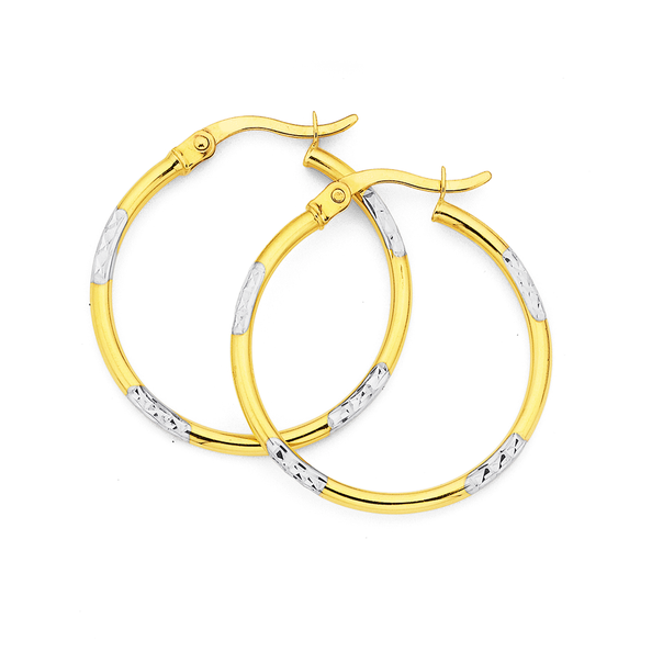 9ct 24mm Two Tone Hoops