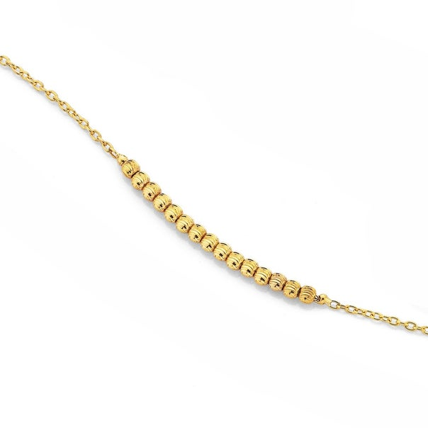 9ct 27cm Beaded Cable Anklet