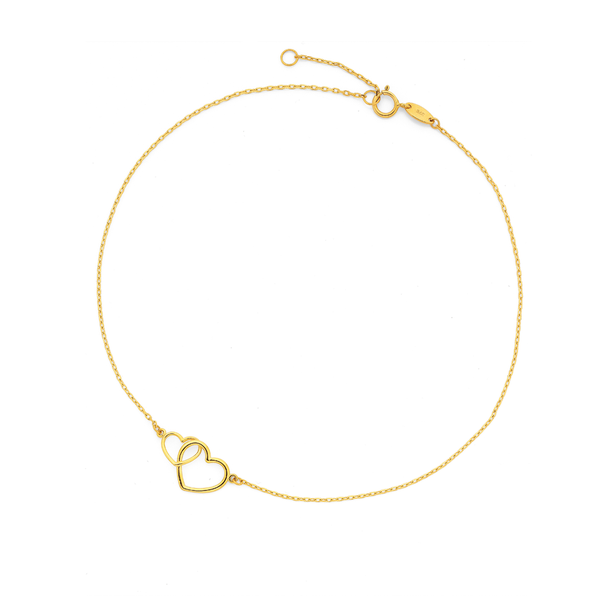 9ct 27cm Linked Heart Trace Anklet