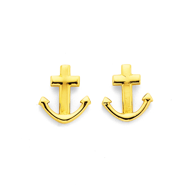 9ct Anchor Studs