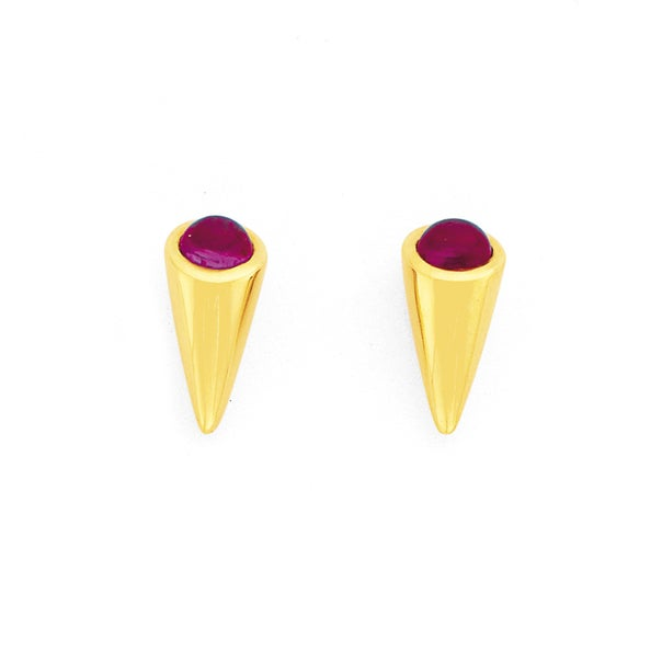 9ct Created Ruby Cone Studs