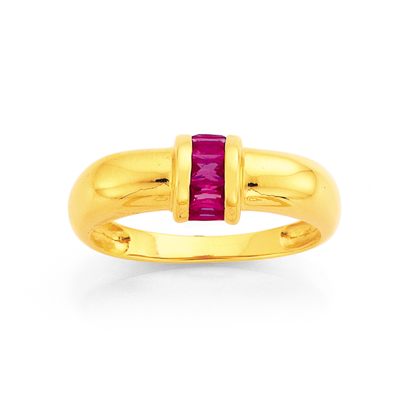 9ct Created Ruby Dome Ring