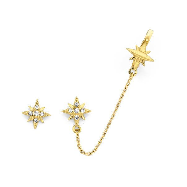 9ct Cubic Zirconia Star Studs with One Star Earcuff
