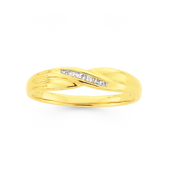 9ct Diamond Channel Set Crossover Ring