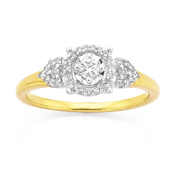 9ct Gold, Diamond Cluster Ring Total Diamond Weight=.25ct