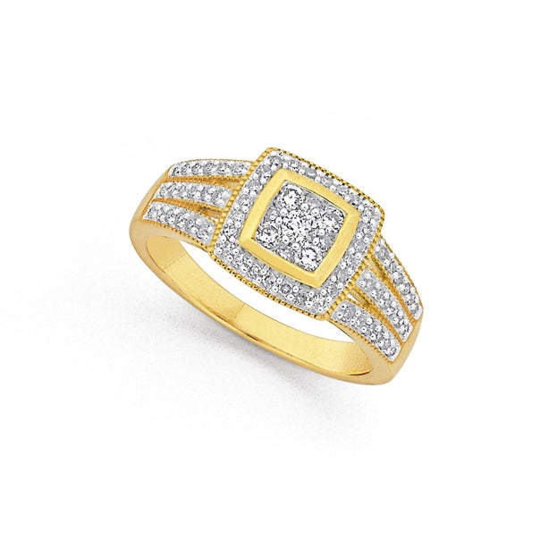 9ct, Diamond Cluster Ring Total Diamond Weight=.50ct