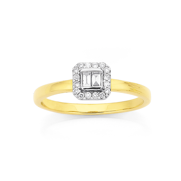 9ct, Diamond Cluster with Bagette Centre Ring TDW=.20ct
