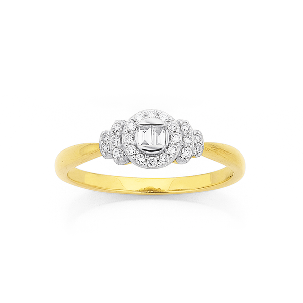 9ct, Diamond Cluster with Bagette Ring