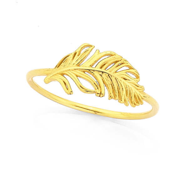 9ct Feather Ring