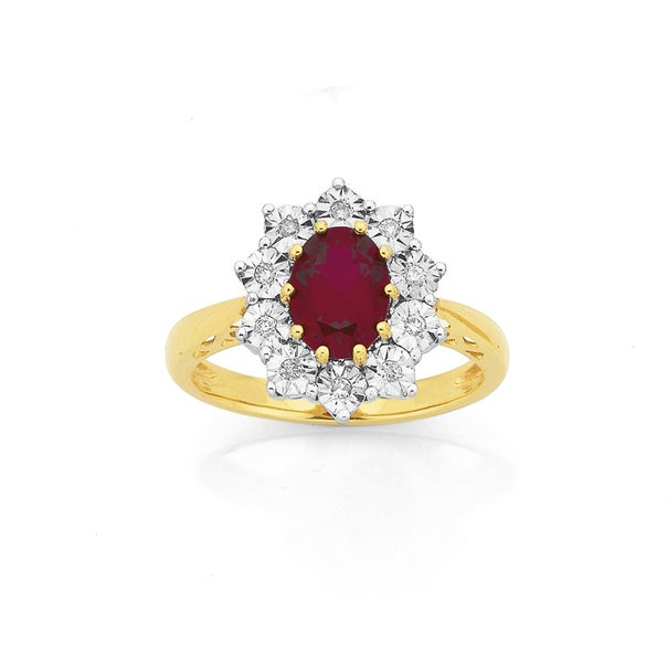 9ct Created Ruby & Diamond Oval Ring