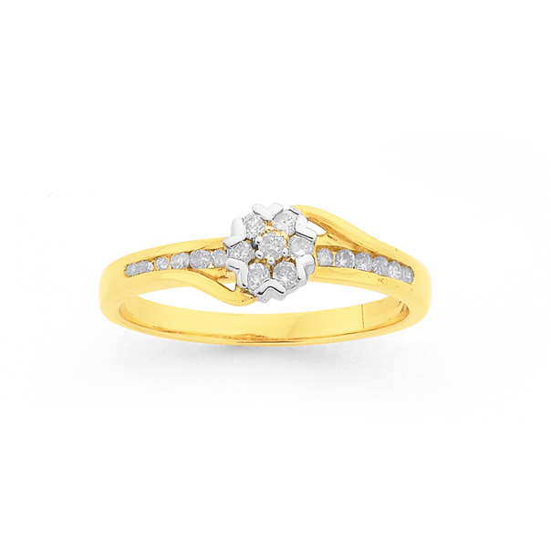 9ct Gold Diamond Cluster Engagement Ring TDW=.25ct