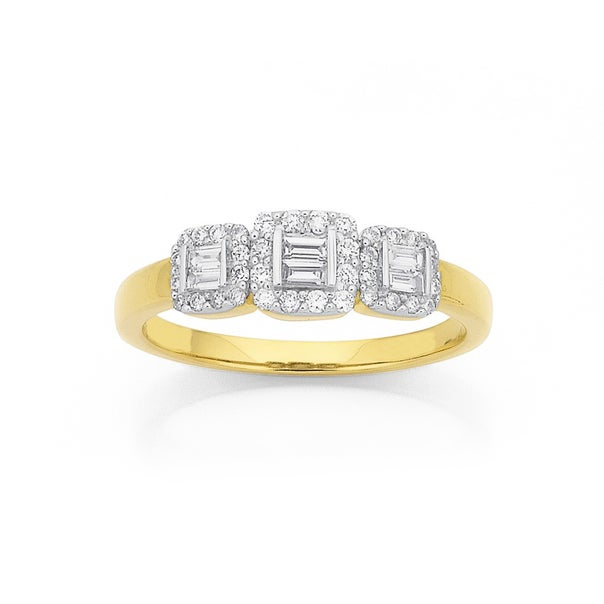 9ct, Diamond Cluster with Bagette Centre Ring Total Diamond Weight=.33ct