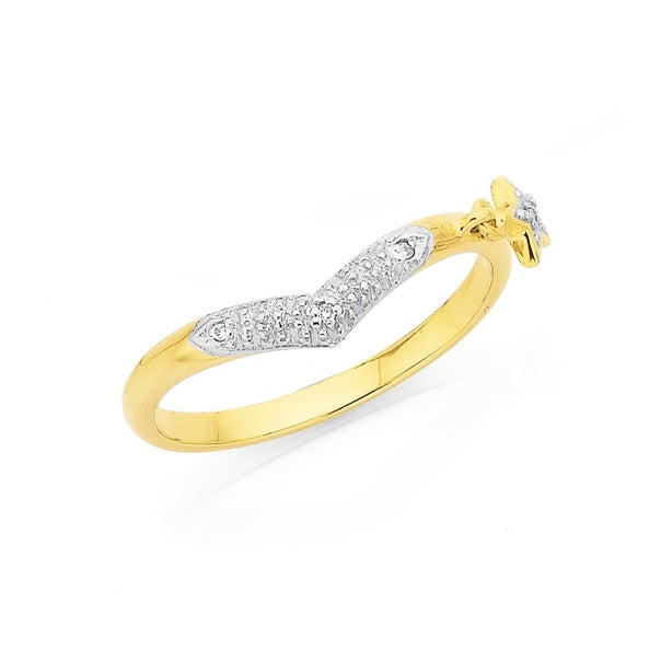 9ct Diamond V Shaped Ring with Star Dangle