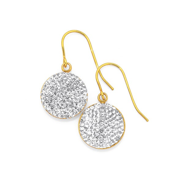 9ct Gold On Silver Crystal Disc Earrings