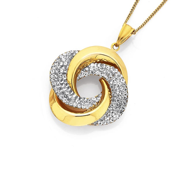 9ct Gold on Silver Crystal Knot Pendant