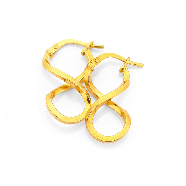 9ct Gold On Silver Figure 8 Hoops