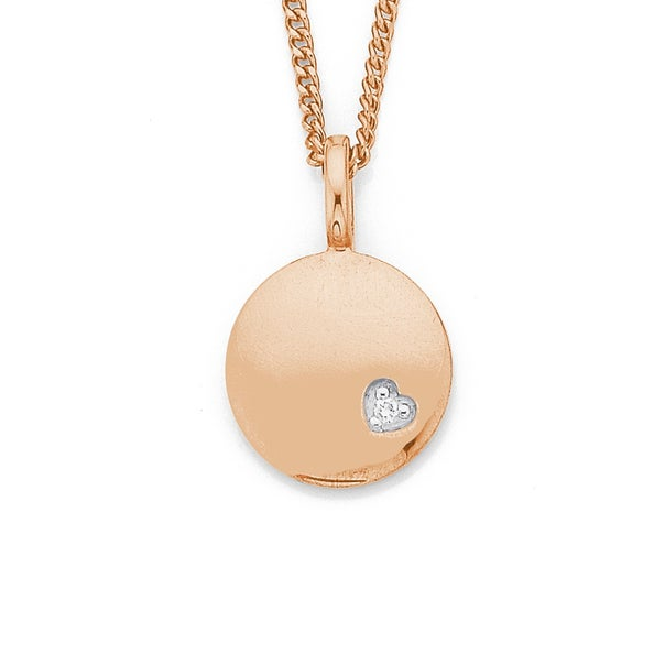 9ct Rose Gold Circle Disk Pendant with Diamond Heart
