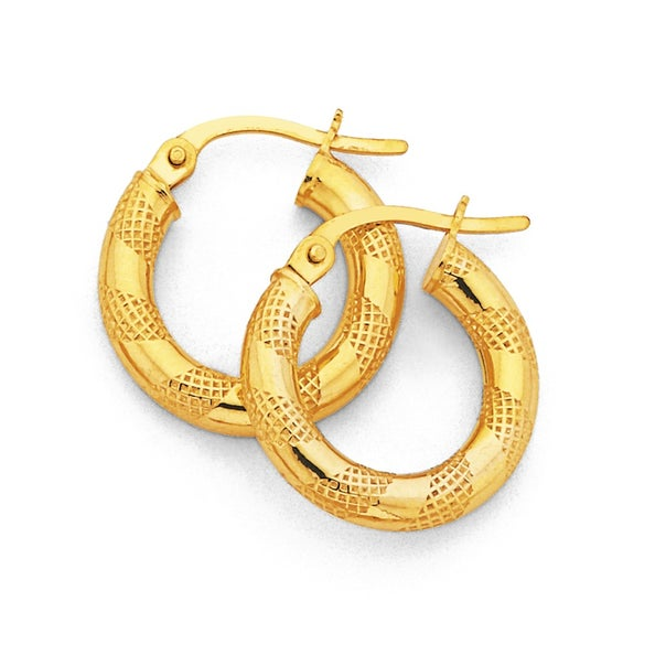 9ct Gold, Small Polished & Patterned Hoops 16mm