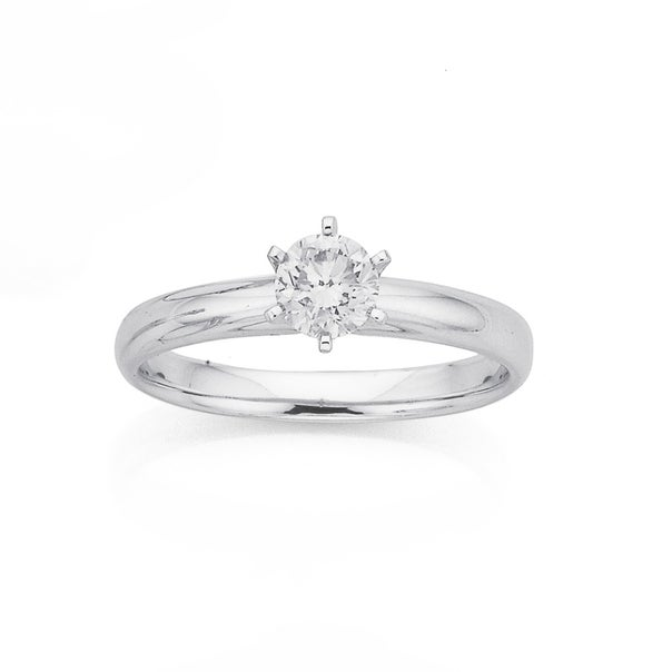 9ct White Gold .50ct Diamond Solitaire Ring