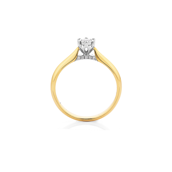 9ct Miracle Plate Setting Diamond Ring TDW=.13ct