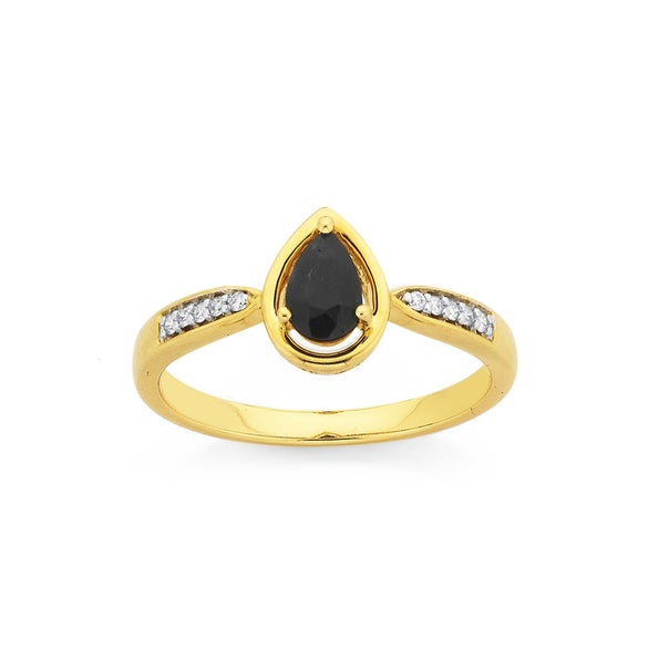 9ct, Pear Shaped Sapphire and Diamond Ring