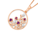 9ct Rose Gold Amethyst and Diamond Flowers in a Circle Pendant
