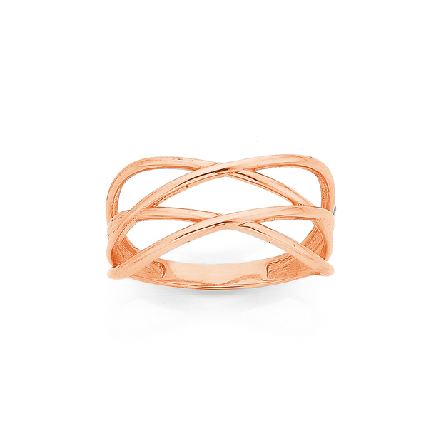 9ct Rose Gold Double Cross Ring