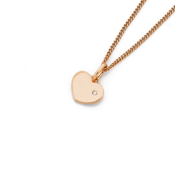 9ct Rose Gold Heart with Diamond Pendant