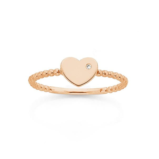 9ct Rose Gold Heart with Diamond Ring