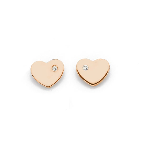 9ct Rose Gold Heart with Diamond Studs