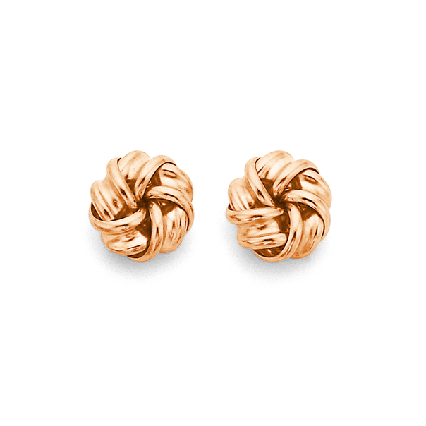 9ct Rose Gold Knot Studs