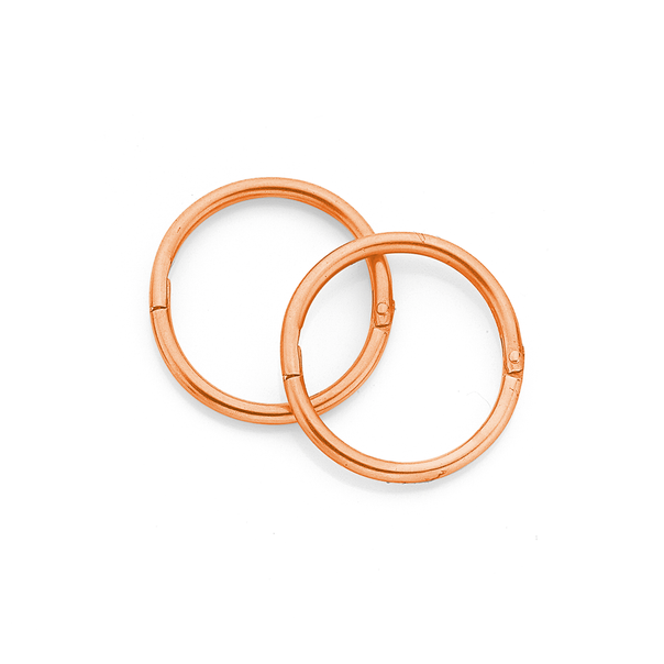9ct Rose Gold Small Plain Sleepers