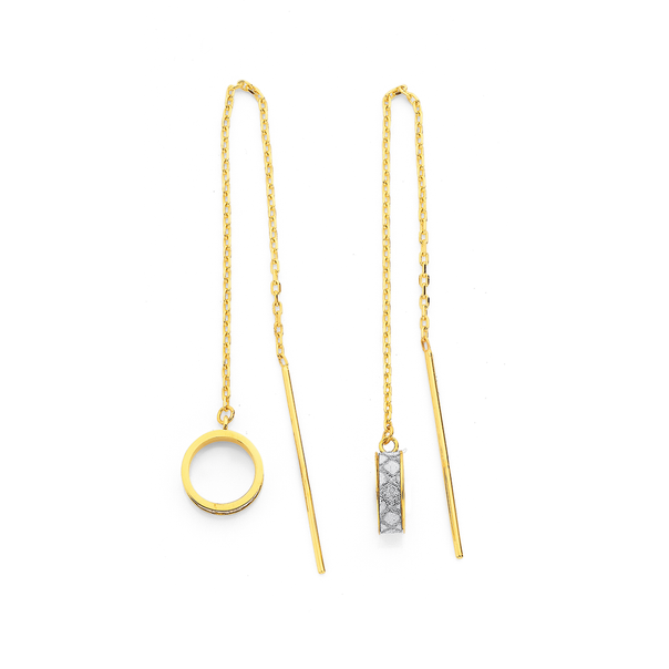 9ct Stardust and Open Circle Thread Earrings