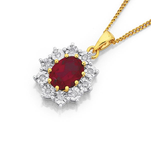 9ct Synthetic Ruby Pendant