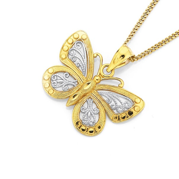 9ct Two Tone Filigree Butterfly Pendant