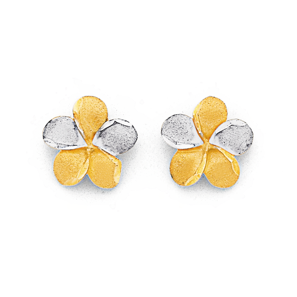 9ct Two Tone Flower Studs
