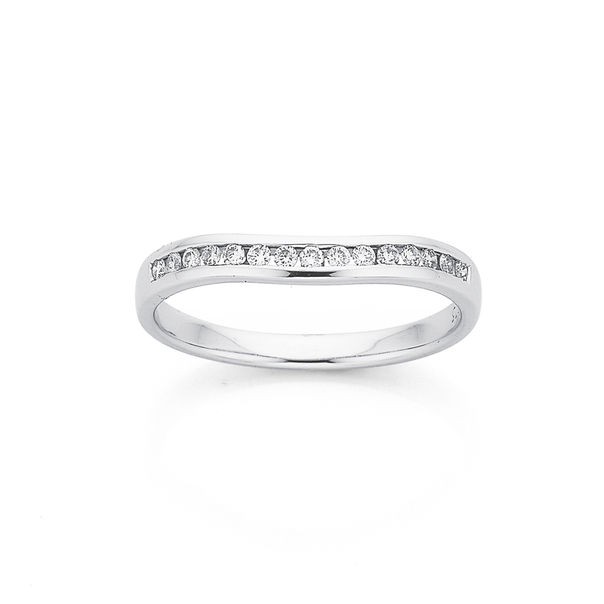 9ct White Gold Curved Diamond Band TDW=.15ct