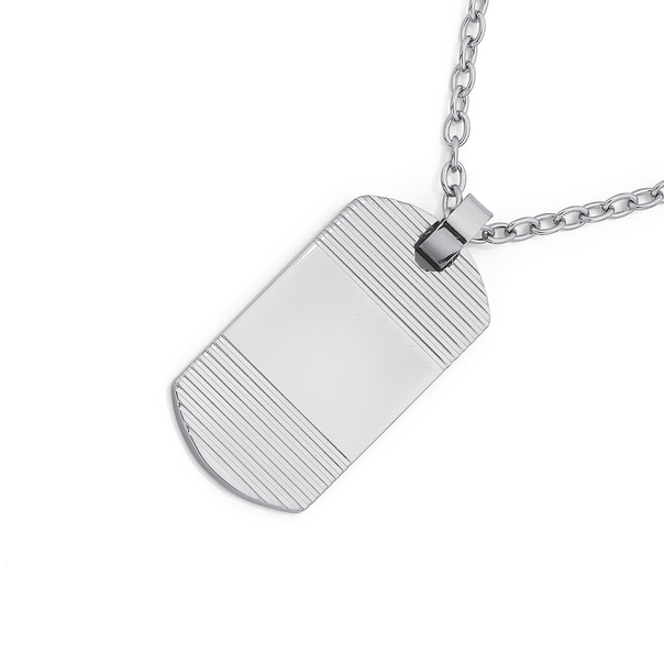 Chisel Stainless Steel Dogtag With Horizontal Line