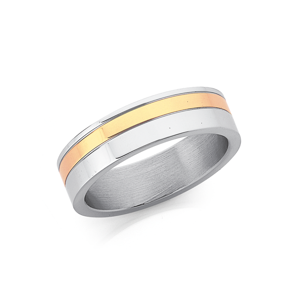 Chisel Stainless Steel Gold Tone Ring Size U