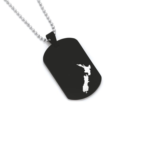 Chisel Stainless Steel NZ Map Dog Tag