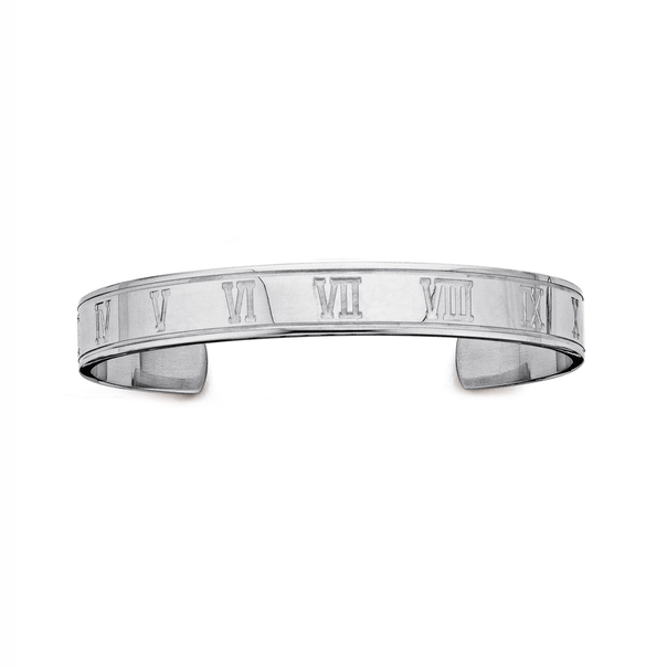 Chisel Stainless Steel Roman Numeral Cuff Bangle