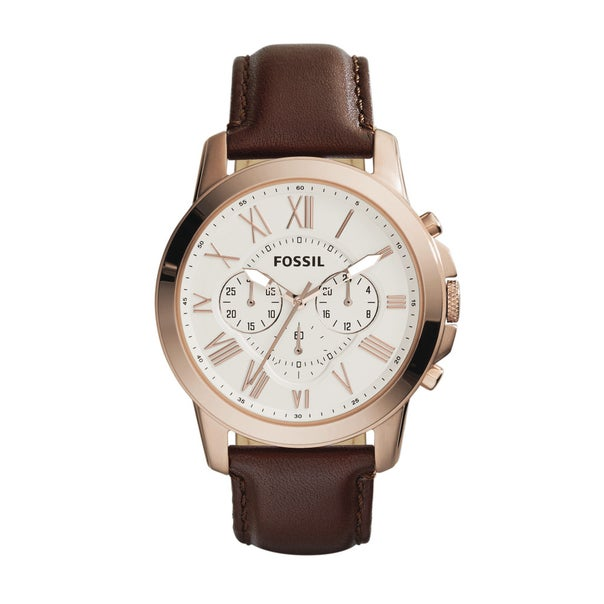 Fossil Gents Grant Chronograph Rose Gold Brown Tone Leather Strap