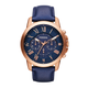 Fossil Gents Grant Chronograph Rose Gold Tone Blue Leather Strap