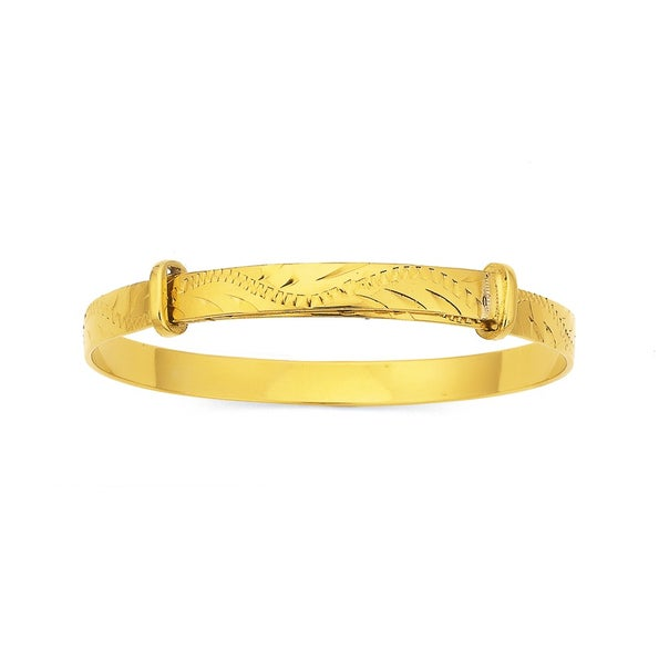 Gold Plated Childs Expander Bangle with Greenery Pattern