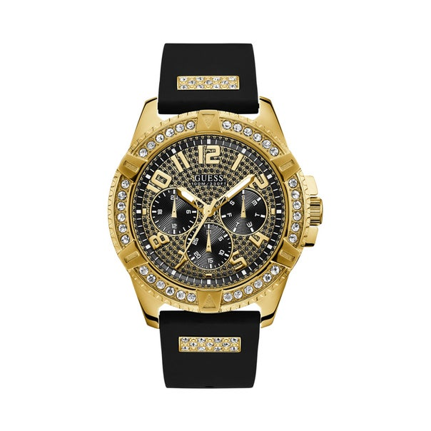 Guess Gents Black & Gold Full Bling Watch