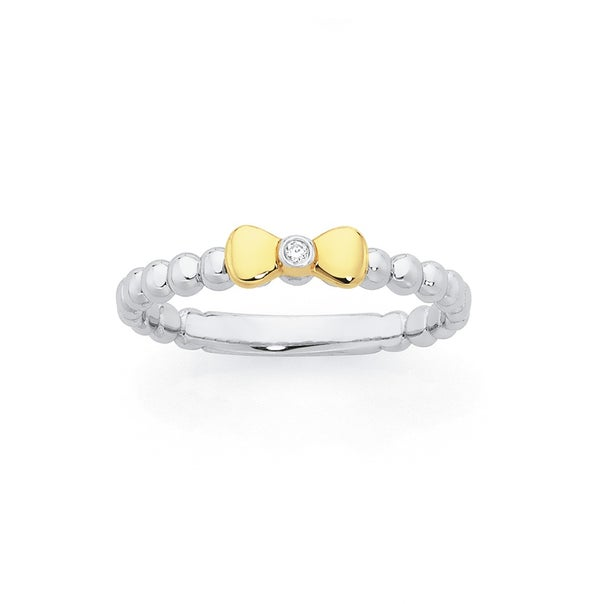 Silver & 9ct Gold, Bow Ring with Diamond