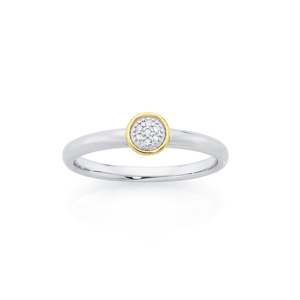 Silver & 9ct Gold, Ring with Diamond