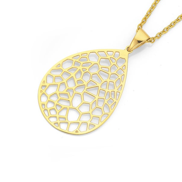 Stainless Steel Gold Open Honeycomb Pear Drop Pendant